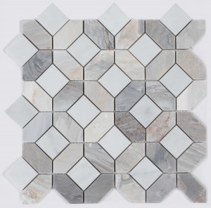 12.25x12.25 Carrara Hexagon & Square Pattern Marble Waterjet Mosaic Tile