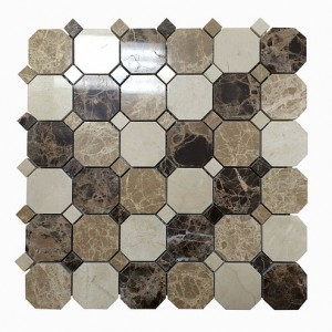 Dark Emperador Light Emperador Octagon with Dot Polished Marble Mosaic Tile | Wall | Backsplash | Bathroom | Kitchen | Shower | Natural Stone