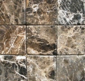 Emperador Dark 4x4 Tumbled Marble Floor and Wall Tile