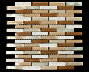 Gold Aluminum & Slate Glass Backsplash Mosaic Tile