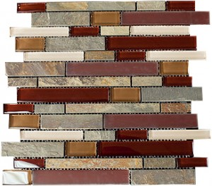 Zen Rouge Red Blend Slate, Marble & Glass Mosaic Tiles