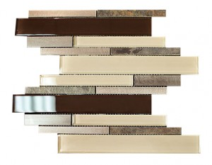 Aluminum Slate Stone Brown & Beige Glass Backsplash Mosaic Tiles