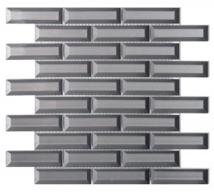 1 in. x 4 in. Fierro Grey Beveled Look Glass in Subway Pattern Mosaic Tile | Kitchen | Bathroom | Shower | Wall | Backsplash | Accent Wall
