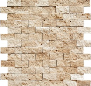 Light 1 X 2 Split Face Travertine Mosaic Tile