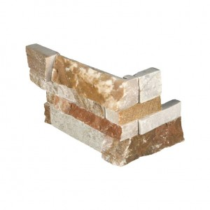 Golden White ledger panels Corner 6 in. x 12 in. x 6 in.Quartzite Wall Tile