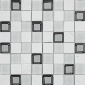 12x12 Keops Blanco Glass Stone Mixed Mosaic Tile