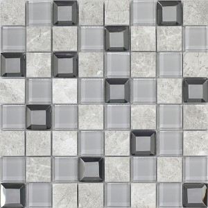 12x12 Keops Gris Glass Stone Mixed Mosaic Tile