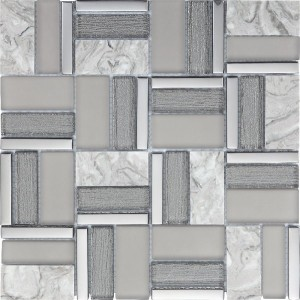 12x12 Time Grey Glass Stone Mixed Mosaic Tile