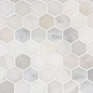 "2"" Greecian White Hexagon Polished Marble Mosaic Tile"