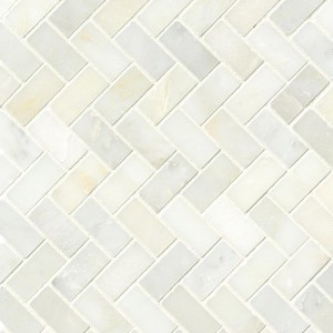 Greecian White Herringbone Pattern Polished Marble Tile