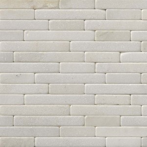 8 in.x 18 in.Greecian White Tumbled Veneer Marble Mosaic Tile