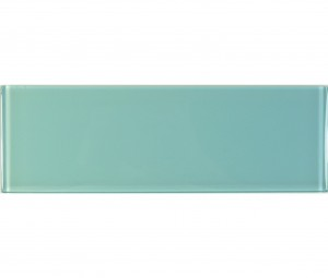 Soft Mint 4 in.x 12 in. Aqua Blue Glossy Glass Tile
