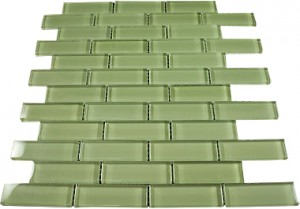 Ocean Spray 1 in.x3 in.Olive Green Glass Tile