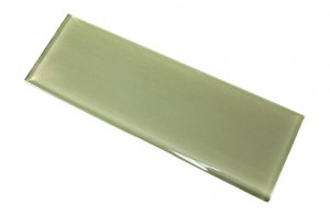 Ocean Spray 4 in. x 12 in. Olive Green Glass Tile