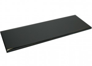 Black 4 in. x 12 in. Glossy Glass Tile