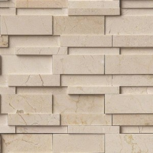 12x12 Crema Marfil Hedron Interlocking Pattern Polished Marble Mosaic Tile