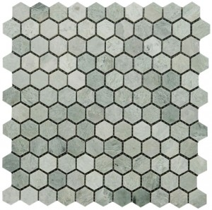 Ming Green Marble Hexagon Pattern Polished Mesh Mounted Mosaic Tile