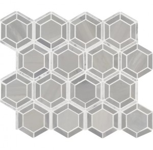 12.4x12.4 Random Hexagon Grey Polished Marble Mosaic Tile