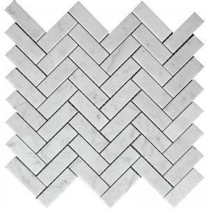 1x3 Bianco Carrara Marble White Herringbone Polished Mesh Mounted Mosaic Tile