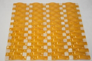 Vintrav  Honey Mustard 3D Waves Tumbled Glass Mosaic Tiles