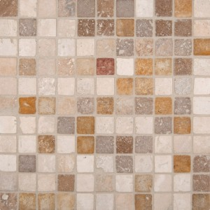 1x1 Mixed Tumbled Square Travertine Mosaic Tile