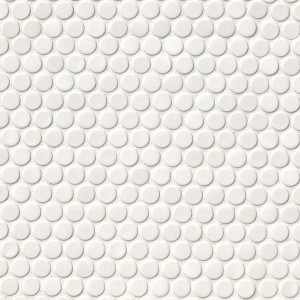 White Glossy Porcelain Penny Round Mosaic Tile