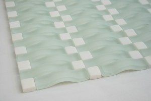 Random 3D Waves C8 Aqua White Matt Arch Glass Tile