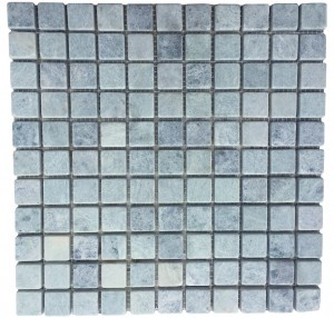 Ming Green Marble Tile - 1x1 tumbled mesh mounted tile