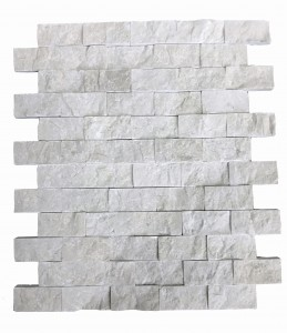 1 x 2 Botticino Beige Split Face Brick Pattern Mesh-Mounted Marble Mosaic Tile