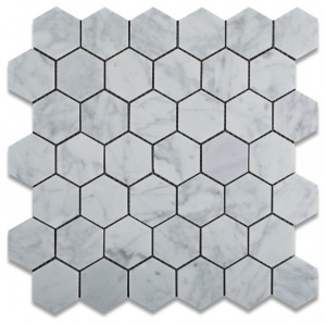"Italian White Carrara 2"" Hexagon Polished Mosaic Tile for Bathroom, Kitchen and Floor"