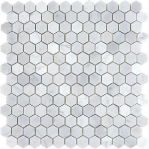 "Italian White Carrara 1"" Hexagon Polished Mosaic Tile for Bathroom, Kitchen and Floor"