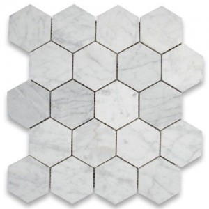 "Italian White Carrara 3"" Hexagon Honed Mosaic Tile for Bathroom, Kitchen and Floor."