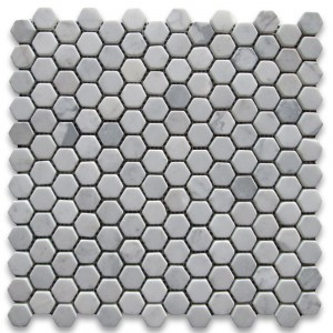 "Italian White Carrara 1"" Hexagon Tumbled Mosaic Tile for Bathroom, Kitchen and Floor"