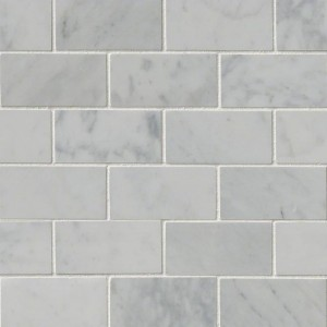 Italian White Carrara Marble 2x4 Brick Pattern Polished Mosaic Tile