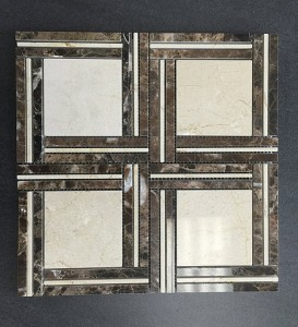 Ivory Random Pinwheel Polished Marble Mosaic Tile | Wall | Backsplash | Bathroom | Kitchen | Shower | Natural Stone