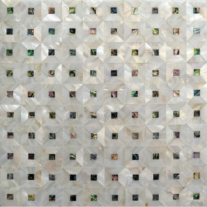 12.1x12.1 Abalone Squares White Shell Mosaic Tile