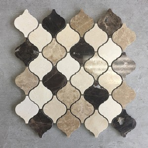Beige Brown Arabesque Polished Marble Mosaic Tile | Wall | Backsplash | Bathroom | Kitchen | Shower | Natural Stone