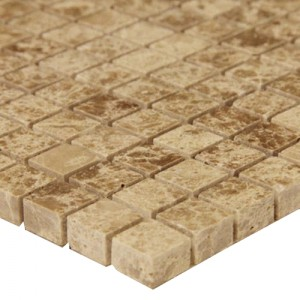 Emperador Light 5/8 in. x 5/8 in. Polished Marble Mosaic Tile | Kitchen | Bathroom | Shower | Accent Wall | Backsplash