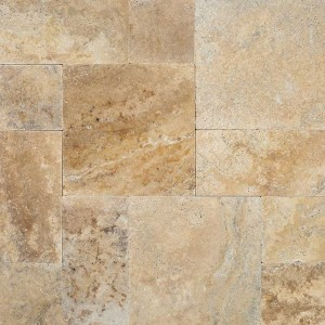 Tuscany Porcini Tumbled Travertine 12x12  Pavers Tile for Driveway, Patio and Pool Deck