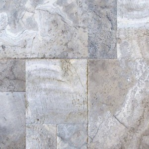Silver Travertine 6 x12 Tumbled Paver Tile for Driveway and Pool Deck