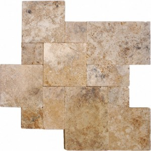 Rustico Walnut French / Versailles Pattern Tumbled Travertine Pavers for Driveway, Patio, Pool Deck