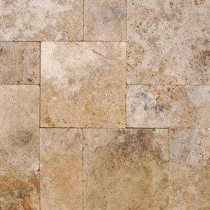 Walnut Rustico Travertine Tumbled 16x16 Pavers Tile for Driveway and Pool Deck