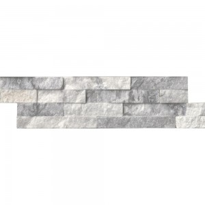 Alaska Gray Marble Splitface Ledger Panel 6 in. x 24 in. Wall Tile