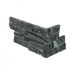 Glacier Black Ledger Corner Piece 6 in. x 12 in. x 6 in. Marble Wall Tile