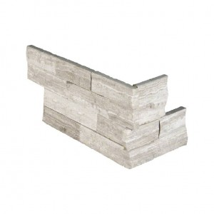 White Oak Ledger Corner 6 in. x 12 in. x 6 in. Marble Splitface Wall Tile