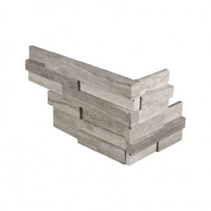 White Oak 3D Honed Ledger Corner 6 in. x 12 in. x 6 in. Natural Quartzite Wall Tile