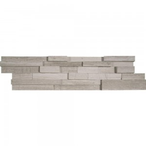 White Oak 3D Honed Ledger Corner 6 in. x 24 in. Natural Quartzite Wall Tile