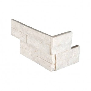 Arctic White Ledger Panel Corner 6 x 12 x 6  Natural Marble Quartzite Wall Tile