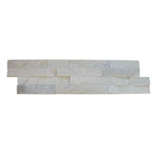Arctic White Ledger Panel 6 in. x 24 in. Natural Marble Wall Tile