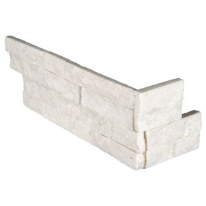 Arctic White Ledger Panel Corner 6 x 18  x 6  Natural Marble Quartzite Wall Tile